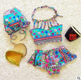 Wholesale Bohemia Swimsuit - Children swimsuit bohemia style girls stripe floral printed bikini swimming falbala hat 3pcs sets baby girls spa beach swimwear R0623