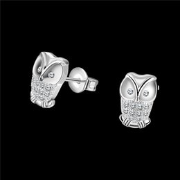 Wholesale Diamond Owl Fashion Studs Earrings - 2016 New Design Real 18K platinum plated CZ diamond owl stud earrings Fashion Jewelry Party Christmas Gifts for girls free shipping