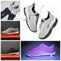 Wholesale Bag For Shoes Sport - With bag and box 97 LX Crystal Diamond Running Shoes For Women Men Limited Edition Air 97 OG Black Silver Sneakers Sports Shoes
