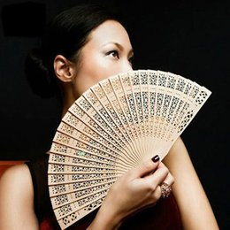 Wholesale Wood For Frames Wholesale - Wood Fans Oriental Fan Natural Color Fan Frames Hollowed out Wood Fans Handmade Sun Flower Scented Wood Fan for Any Events Hand Fans 50pcs