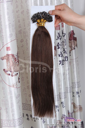 "Wholesale Dark Brown Extensions Fusion Tip - 18-22"" 100 Strands Silky Straight Pre Bonded U Nail Tip Italian Keratin Fusion Indian Remy Human Hair Extensions 0.5g s #4 Dark Brown"