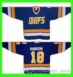 Wholesale connor costume - 18 Jeff Hanson brothers SLAPSHOT movie Charlestown CHIEFS Hockey - Blue Halloween Costume Custom Any Number NO.Sewn On Ice Hockey Jerseys