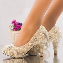 Nouvelle Arrivée D'été Strass Chaussures De Mariée Mariée Perle Robe En Cristal Chaussures Artisanat Ivoire À Talons Hauts Plateformes De Bal Parti Chaussures ? partir de fabricateur