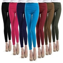Wholesale Black Satin Skinny Pants - Women Lady Skinny High Waist Leggings Stretchy Sexy Pencil Pants Jeggings