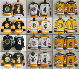 Wholesale Vintage Road - Wholesale Cheap Men's boston bruins Hockey Jerseys #4 Bobby Orr Jersey Home Black Road White Yellow CCM Vintage Stitched Jersey A Patch