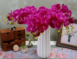 """Wholesale Wholesale Blue Orchids - Silk Single Stem Orchid 78cm 30.71"""" Length Artificial Flowers Mini Phalaenopsis Butterfly Orchids Pink Cream Fuchsia Blue Green Color"""