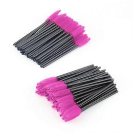 Wholesale Disposable Make Up Brushes - 100pcs lot New make up brush Pink synthetic fiber Disposable Eyelash Brush Mascara Applicator Wand Brush Cosmetic Makeup Tool