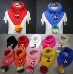 encantos cuadrados de tela Rebajas Bola colorida bufandas para niños Unisex Oso de dibujos animados Invierno Cuello bufanda Lana caliente de punto Pañuelo para niños Niños Bufandas 12 colores