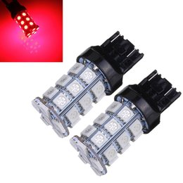Wholesale Led Stop Tail - Big Promotion 2x T20 7443 27 LED 5050 SMD Red Car Light Source Auto Brake Tail Stop Parking Lamp Bulb DC12V order<$18no track