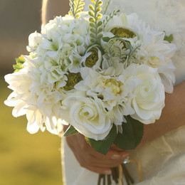Wholesale Bridesmaid Bouquets For Cheap - Cheap 2015 New Artificial Bridal Bouquets For Out Door Lawn wedding Ivory Rose Wedding Supplies Bridal Bridesmaid Flower EN7085