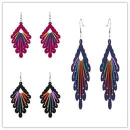 Wholesale Thread Chandelier Earring - Women Fashion Black Purple Rose Red Wood Leaf Drop Dangle Earrings Colored Threads Big Wooden Eardrop
