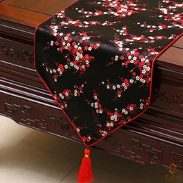 Wholesale Rectangle Banquet Tables - Classic Cherry blossoms Table Runners Table Linen Fashion Luxury Damask Rectangle End Table Cloth Insulation Pads Banquet Festive Decoration