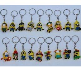 Wholesale Despicable Figurines - 1503 1511 30pcs lot 3.5CM Despicable Me Key chain Movie Anime Minion toys Figurine Pendants Random Mixed