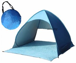 Wholesale Two Person Canvas Tent - Blue Pop Up Beach Garden Tent Tourism Outdoor Sun Shade Sand Tent Holiday Family Camping Tents