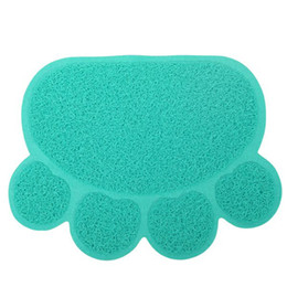 Wholesale Dog Wipes - PVC Dog Paw Shape Placemat Pet Puppy Cleaning Feeding Dish Bowl Table Mats Wipe PVC Non-slip Heat Cute Pad Easy Cleaning