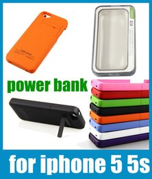 Wholesale Portable Charger Cases - rechargeable 2200mah power bank power case for iphone 5 5s with backup portable battery charger case fedex free shipping colorful BAC015