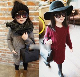 Wholesale Kids Knit Sweaters - Cute Girls Sweater Dress Hot Autumn Winter Children's Clothing Pockets Long Tops Pullovers Slit Knitted Sweaters Kids Knitwear Wine-red