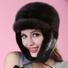 Wholesale Mink Muff - Wholesale-2015 autumn winter Super warm below zero show women mink ear muffs fur Russian style cap lady luxur fur hat famous band new