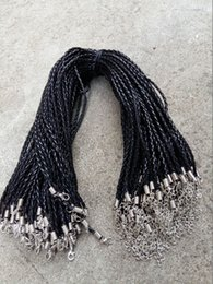 Wholesale Leather Cord For Jewelry Wholesale - 20'' 22'' 24'' 3mm Black PU Leather Braid Necklace Cords With Lobster Clasp For DIY Craft Jewelry