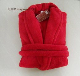 Wholesale Mens V Neck Fleece - Wholesale-2015 Coffee blue pink red grey super soft coral fleece bath robe for women men robe sleepwear mens sexy sleepwear free shipping