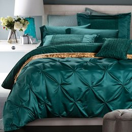 Wholesale Luxury Silk Bedspreads King Size - Luxury bedding set blue green duvet cover bed in a bag sheets bedspreads queen king size double designer quilt linen bedsheet
