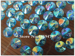 Wholesale Round Crystal Sew Stones - Wholesale-Free Shipping 500pcs 8mm Water Blue AB Color Acrylic Crystal Loose Sew on Stones Rhinestones Round Satellite Flatback Holes sse2