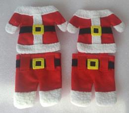 chaquetas de santa Rebajas Santa Suit Christmas Silverware Holder Pockets Pants + Jacket 2015 nueva Navidad vajilla bolsa juguetes B001