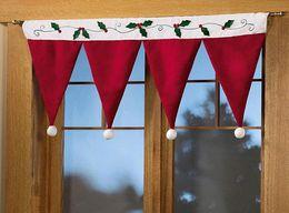 Wholesale Valance Windows - Santa Hat Window Valance Christmas Decoration Supplies Free Shipping