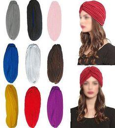 Wholesale Indians Beanie - Stretchy Turban Head Wrap Band Chemo Bandana Hijab Pleated Indian Cap