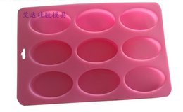 Wholesale Candle Making Free Shipping - Free Shipping--High Quality 100% nature silicone Soap Mold,9 Oval Tray Slab Mold Silicone Candle Casting & Making