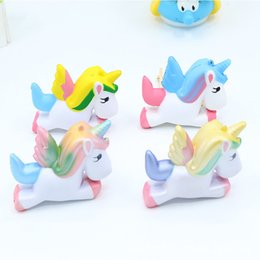 Wholesale Horses Flies - retail PU Unicorn flying Dazzle colour horse Jumbo Squishy Slow Rising Pendant Phone Straps Charms Queeze Kid Toys Cute squishies Bread