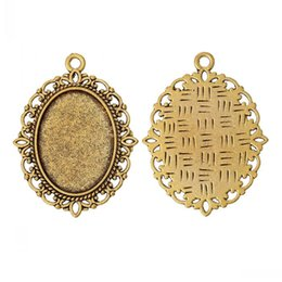 """Wholesale Nickel Free Gold - Jewelry Findings Charm Pendants Oval Gold Tone Cabochon Setting(Fit 25mm x 18mm)Nickel Free4cm x 3cm(1 5 8"""" x1 1 8""""),30PCs"""