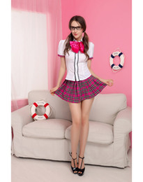 Wholesale Adult Sexy Short Skirts - Cosplay Sexy Adorable Nerd School Girl Lingerie Costumes For Women Adult Plaid School Girl Skirt Bow Tie S4262