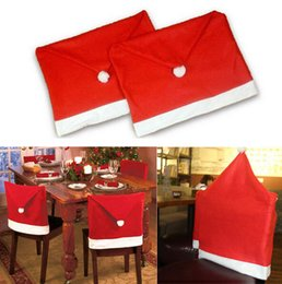 Wholesale Christmas Chair Covers Wholesale - Retail New Year Red Santa Clause Hat Chair Back Cover 50CM * 60CM Christmas Dinner Decoration Party Supply Favor Drop Shipping
