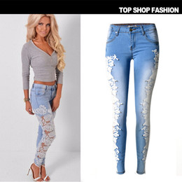Wholesale Sexy High Waisted Hot Pants - 2016 Hot Sale Lace Hollow Spliced Sexy Women Jeans Low Waisted Skinny Fashion High Elasticity Cotton Blue Pencil Pants