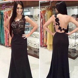 Wholesale Sleeveless Illusion Lace - Sexy Black Prom Dresses Illusion Lace Sheath Crew Neckline Sleeveless Backless Floor Length 2016 Cheap Pageant Party Dress Evening Gowns