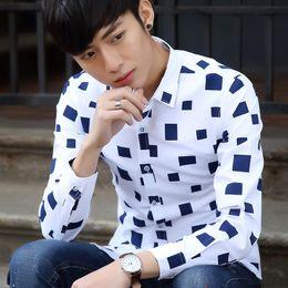 Wholesale Korean Clothing Mens Dress Shirts - Wholesale-2016 Korean Casual Men Shirts Business Metrosexual Striped Printed Male Mens Shirts Men Clothes Plaid Chemise Homme