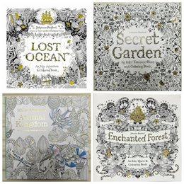 Wholesale Wholesale Graffiti Toys - PrettyBaby 25x25cm Animal Kingdom Enchanted Forest Lost Ocean secret garden inky coloring book for kids adult Graffiti Painting the_one