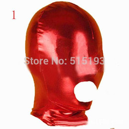 Wholesale Spandex Bondage Hood - Female Men Sexy Toys Fetish Slave Face spandex Open Mouth Hood Mask Bondage Audlt Games Sex Products red black