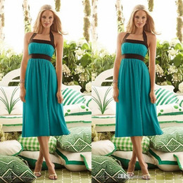 Wholesale Light Yellow Tea Length Halter - 2017 Country Bridesmaid Dresses Dark Brown and Teal Bridesmaid Dresses Halter Tea Length Chiffon Beach Wedding Party Dresses Custom Made