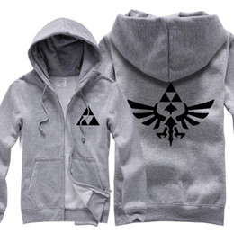 Wholesale Princess Sweatshirts - Legend of Zelda Twilight Princess Hoodie Triforce Logo Zip Hoody Hooded Sweatshirt Symbol Coat