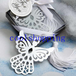 Wholesale Bookmark Party Favors - DHL Freeshipping Angel Cross Design metal bookmarks White Silk Tassel wedding favor baby shower gift birthday party favors