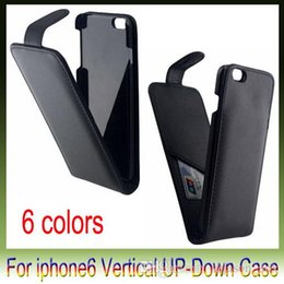 Wholesale Iphone Flip Down - Fashion Flip Vertical Up and Down Open Leather Cases Cover With Credit Card Slot For iPhone 6 plus 4.7 5.5 inch