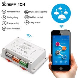 Wholesale Smart Home Switches - Original Sonoff 4CH Wifi Smart Switch Universal Remote Intelligent Switch Interruptor 4 Channel Din Rail Mounting Smart Home Wi-FI Switch