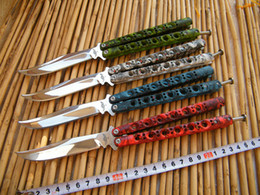 Wholesale Mirror Polished Stainless Steel - THE ONE Skull Camo BM43 Butterfly knife Mirror polishing 440C Blade Balisong Flipper knife Die cast stainless steel handle with nylon sheath