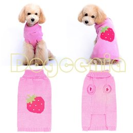 Wholesale Free Patterns Dog Clothes - Wholesale-Red Strawberry Pattern Design for Pet Products Dog Clothes Winter Sweater Top Quality Free Shipping