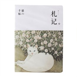 Wholesale Vintage Cat Painting - Wholesale- Vintage Blank Sketchbook Diary Drawing Painting Cute Cat Notebook paper Sketch Book Office School Supplies Gift(reading notes)