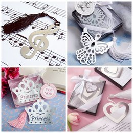 Wholesale Metal Centerpieces - Metal Silver Bookmark Crown Musical Note Heart Eagle Shape Wedding Centerpieces Bookmarker Hollowed Out Design Bookmarks Portable 1 25ab B