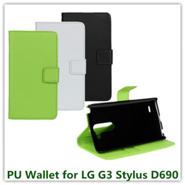 Wholesale Drop Shipping Phone Cases - 1PCS Drop Shipping Fashion Black Color PU Leather Mulit Stand Cover Case for LG G3 Stylus D690 with ID Card Holder Phone Bags