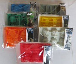 Wholesale Silicone Icing Molds - Silicone star wars ice cube tray molds Creative US DIY model FDA 100% silicone chocolate cake mold ice box 7pcs lots with packagin